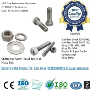 Stainless Steel Stud Bolts & Nut Set Manufacturers Suppliers Factory